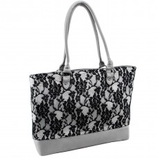 Aaryn Quilted Fabric with Faux Leather Tote
